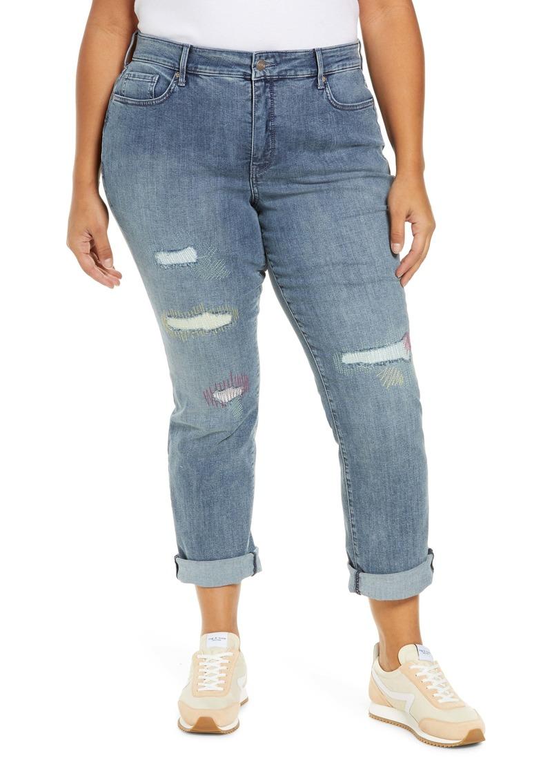 NYDJ Marilyn Rip & Repair Straight Leg Jeans (Clean Monet) (Plus Size)