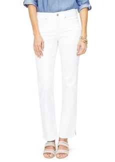 NYDJ Marilyn Slit Hem Straight Leg Jeans (Optic White)