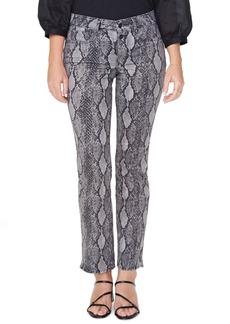 NYDJ Marilyn Snake Print High Waist Button Fly Ankle Jeans (Diamondback Slate)