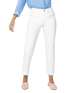 NYDJ Marilyn Straight-Leg Cuffed Ankle Jeans in Optic White