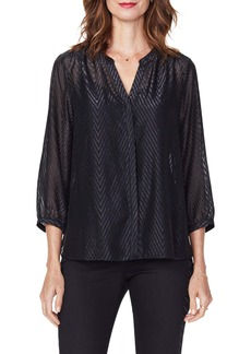 NYDJ Metallic Pintuck Blouse