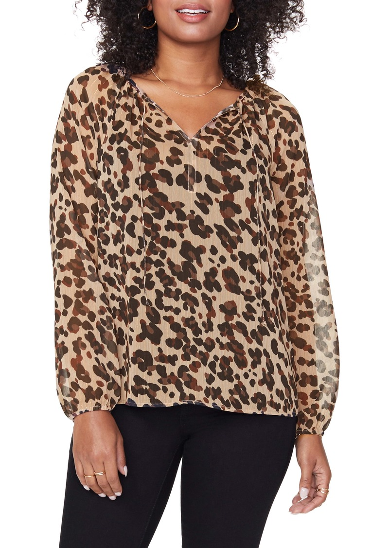 NYDJ Metallic Thread Detail Leopard Print Peasant Blouse