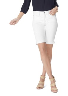 NYDJ Petites Biella Cuffed Denim Bermuda Shorts in Optic White