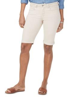 NYDJ Petites Briella Cuffed Denim Bermuda Shorts in Feather