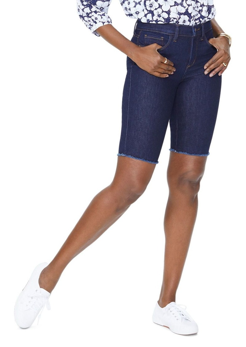 NYDJ Petites Briella Frayed Denim Bermuda Shorts in Rinse