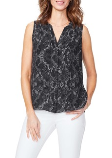 NYDJ Pleat Back Sleeveless Split Neck Blouse (Regular & Petite)