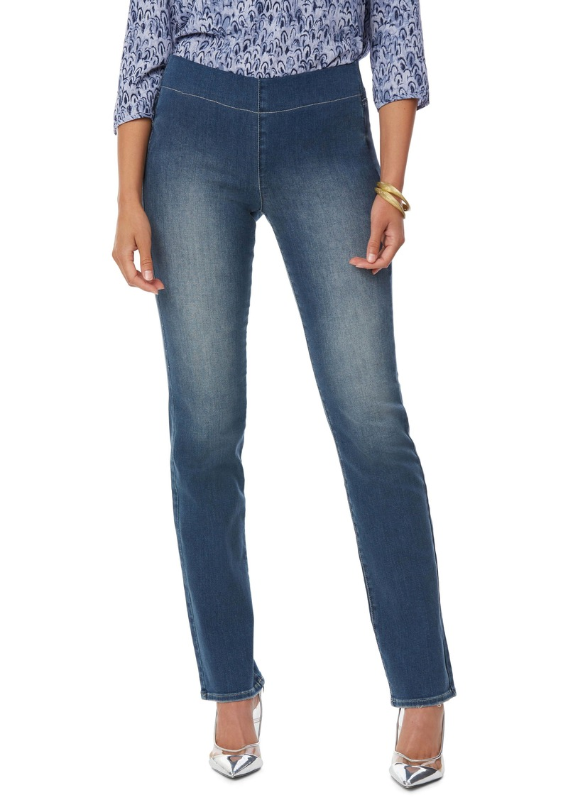NYDJ Pull-On Straight Leg Jeans (Clean Enchantment)