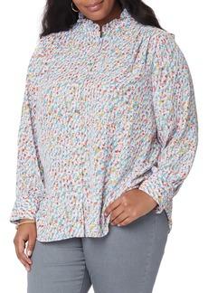 NYDJ Ruffle Neck Blouse (Plus Size)