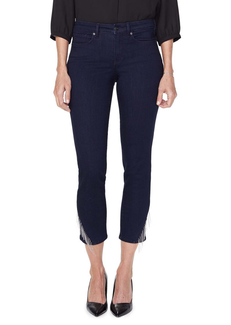 NYDJ Sheri Diagonal Chain Hem Ankle Jeans (Rinse)