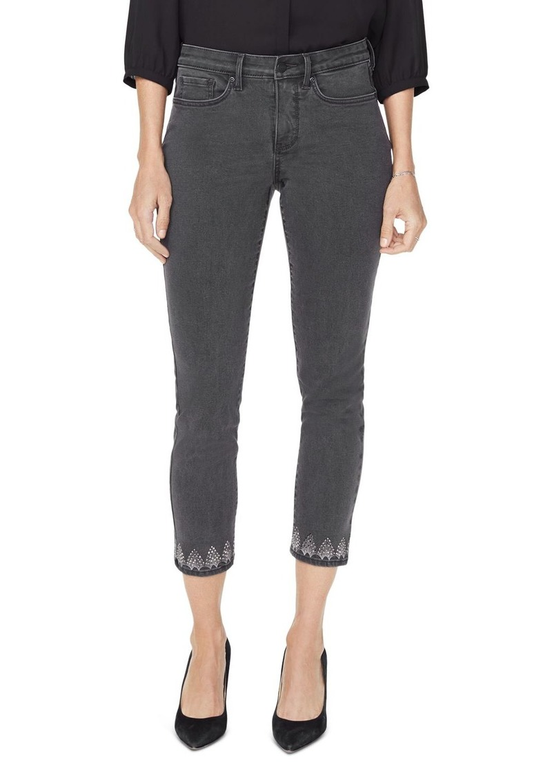 NYDJ Sheri Embroidered Cropped Slim Jeans in Folsom