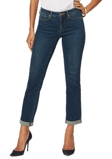 NYDJ Sheri Embroidered Heart Cuff Ankle Jeans