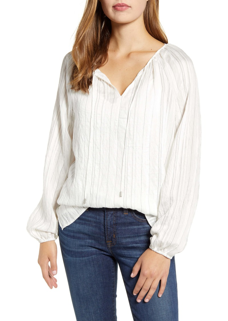 NYDJ Split Neck Peasant Blouse