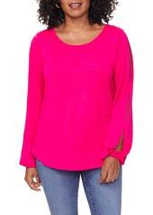 NYDJ Split Sleeve Cotton Slub Top