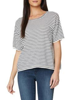 NYDJ Stripe Linen & Cotton Short Sleeve Sweater
