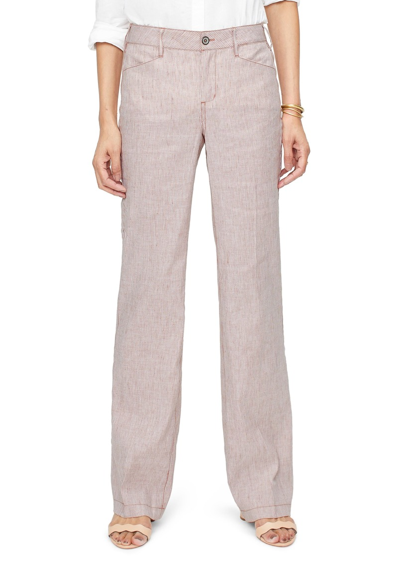 NYDJ Stripe Linen & Cotton Trousers