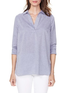 NYDJ Swiss Dot Split Neck Cotton Top