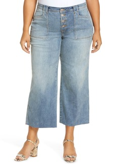NYDJ Teresa Exposed Button Ankle Wide Leg Jeans (Clean Clayburn) (Plus Size)