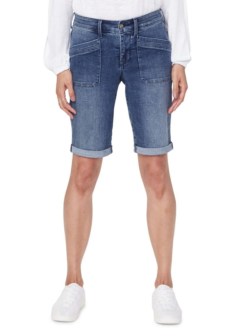 NYDJ Utility Pocket Rolled Cuff Denim Shorts (Clean Lazaro) (Regular & Petite)