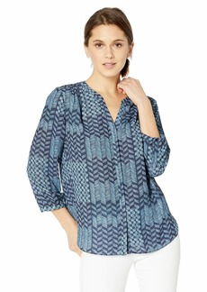 NYDJ Women's 3/4 Sleeve Pintuck Blouse Camino etchings Peacoat XXS