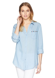 NYDJ Women's Classic Tencel Shirt with Embroidery sea Mist wash M