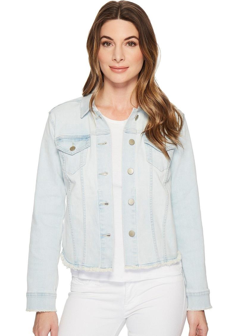 NYDJ Women's Denim Jacket with Fray Hem  L