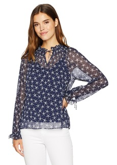 NYDJ Women's Drawstring Ruffle Peasant Top Starlight starbrite Peacoat XL
