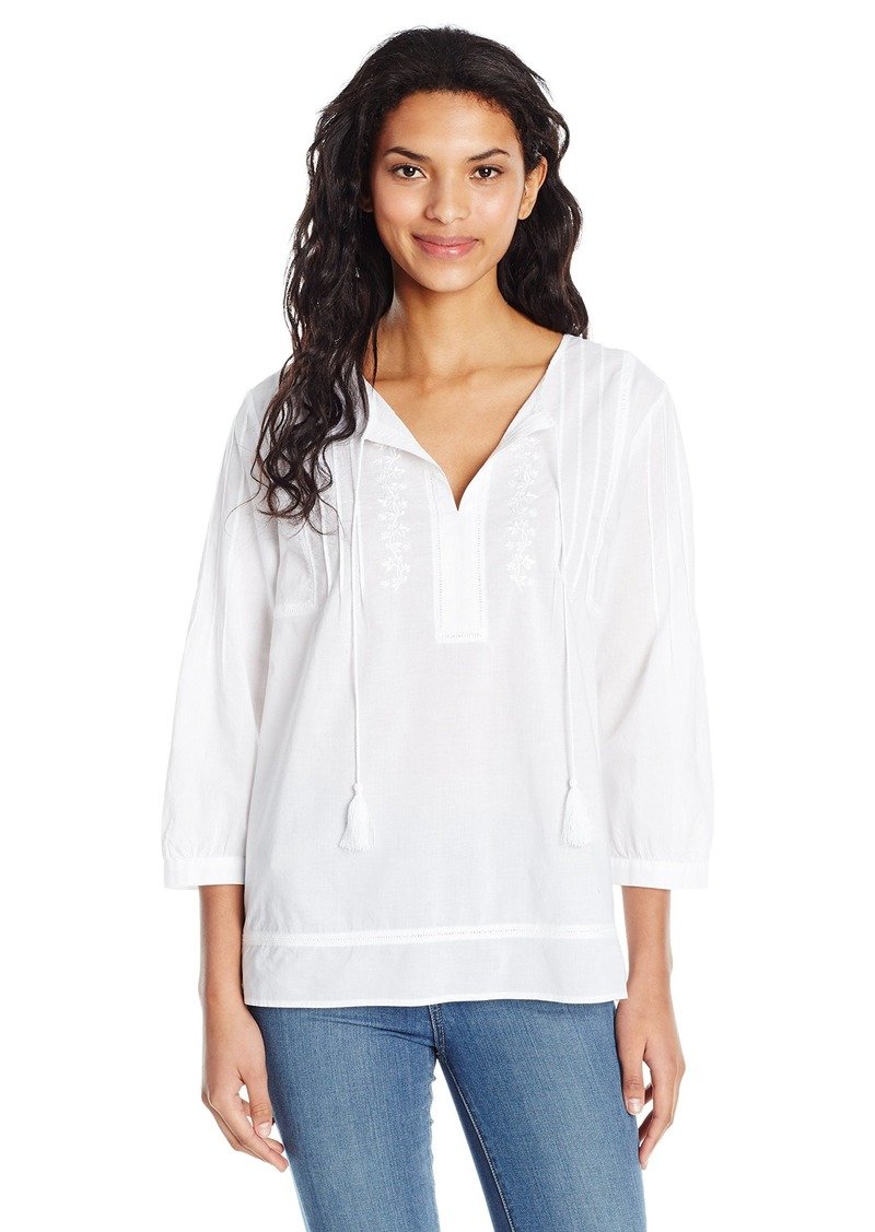 NYDJ Women's Embroidered Cotton Voile Top