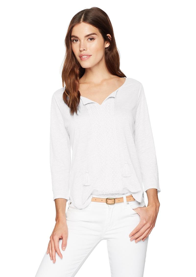 NYDJ Women's Linen Lace Trim Henley  S