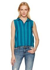 NYDJ Women's Linen Yarn Dye Top Republique NVY/Cabana GRN STRI