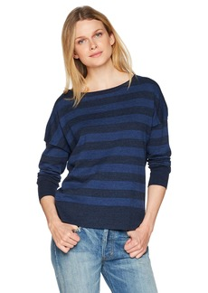 NYDJ Women's Long Sleeve Striped Sweater Peacoat Rugby L