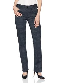 NYDJ Women's Marilyn Straight Leg Ponte Pant Plaid Black