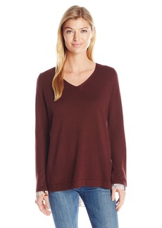 NYDJ Women's Mixed Media V-Neck Sweater with Overlapped Back  Medium