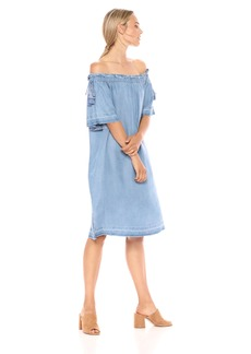 NYDJ Women's Off The Shoulder Dress Low Tide wash XS