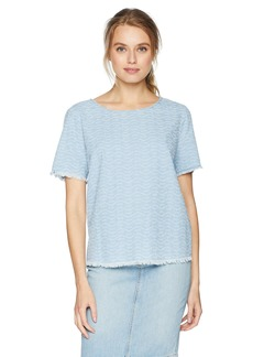 NYDJ Women's Perforated Indigo Woven Tee Tidal Wave wash M