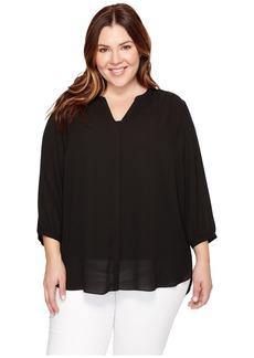 NYDJ Women's Plus Size 3/4 Sleeve Pintuck Blouse