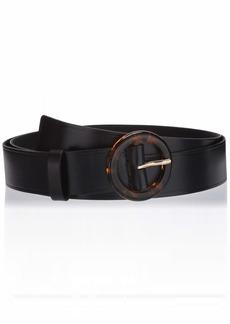 NYDJ Women's Plus Size Leather Slim Skinny Dress Belt for Jeans modern black