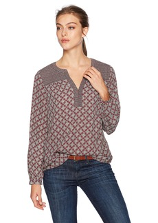 NYDJ Women's Print Mix Peasant TOP Circle Mosaic deep Currant M