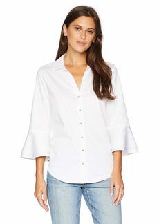 NYDJ Women's Ruffle Sleeve Shirt  L