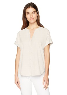NYDJ Women's Short Sleeve Boyfriend Shirt  XL