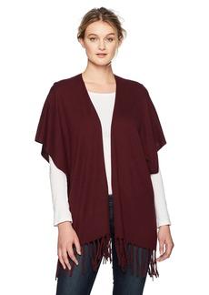 NYDJ Women's Sweater WRAP with Fringe deep Currant L/XL