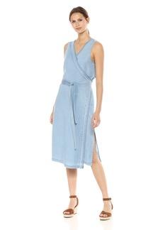 NYDJ Women's Wrap Dress with Release Hem sea Mist wash M