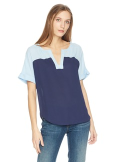 NYDJ Women's Yoke Print Mix Woven Tee  S
