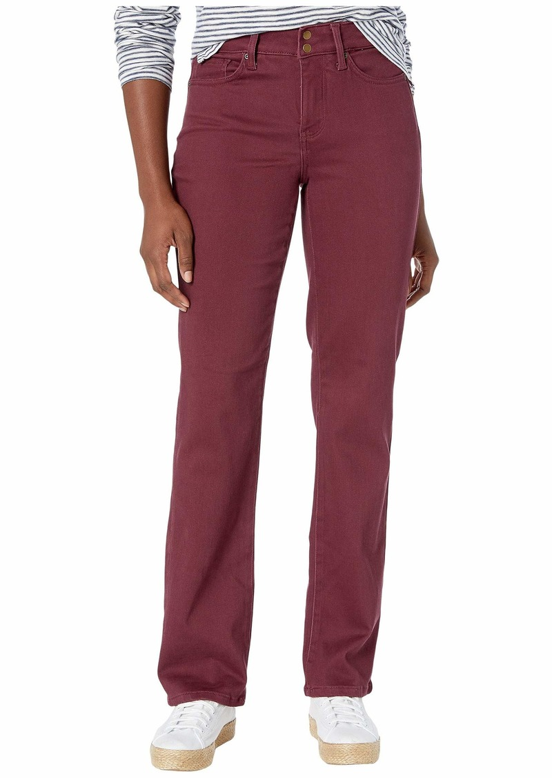 NYDJ Petite Marilyn Straight Double Snap Waistband Sueded Sateen