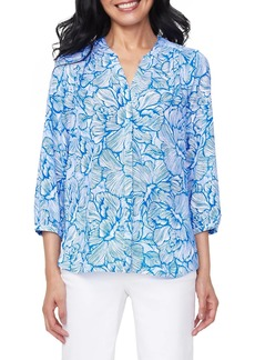 NYDJ Pintuck Blue Floral Print Blouse