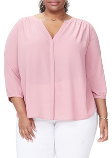 NYDJ Pintuck Pleat Crepe Blouse (Plus Size)