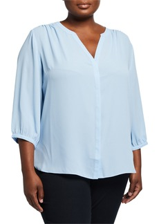 NYDJ Plus Size 3/4 Sleeve Button-Front Blouse