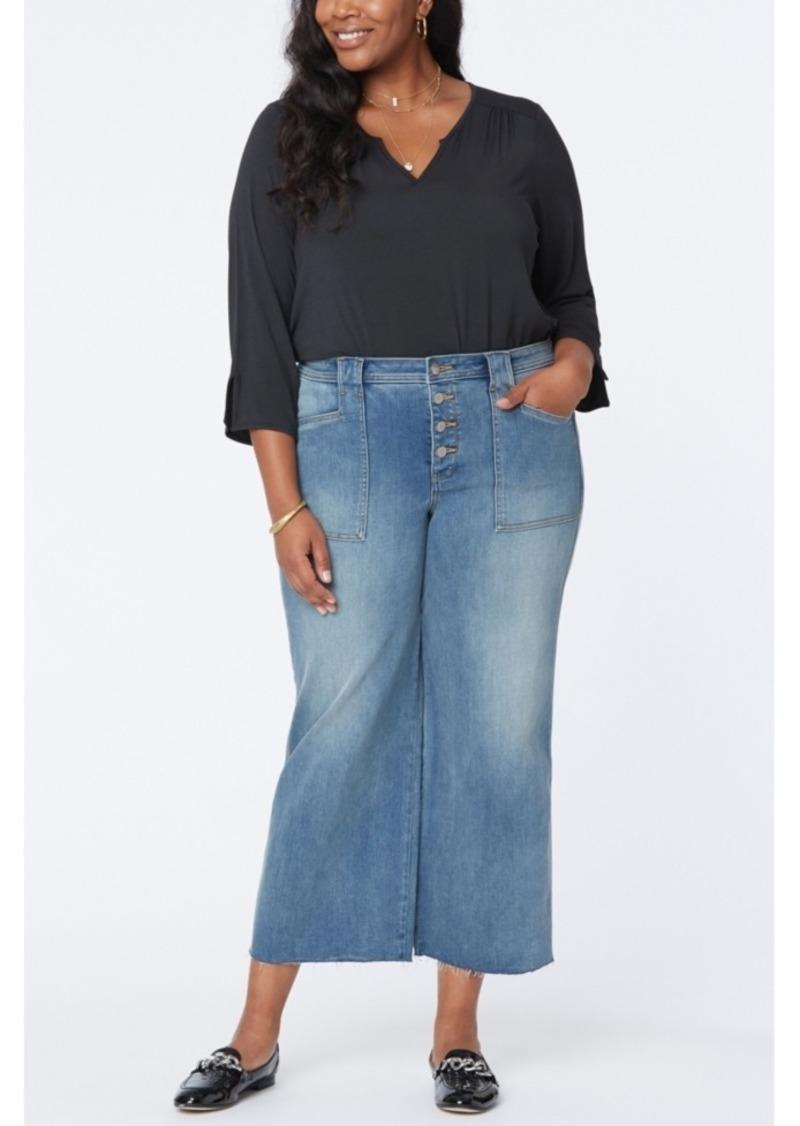 NYDJ Plus Size Utility Detail Wide Leg Ankle Jeans