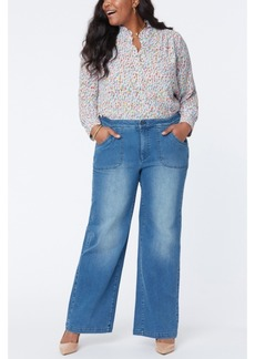 NYDJ Plus Size Utility Pocket Wide Leg Trouser Jeans