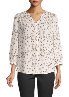 NYDJ Print High-Low Pintucked Blouse