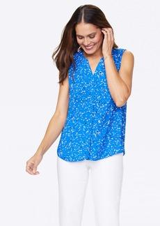NYDJ Sleeveless Pintuck Blouse - Blue Splatter - L - Also in: XL, M, XS